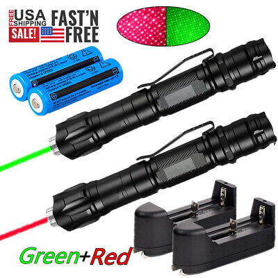 2x Assassin 900miles Green Red Laser Pointer Star Beam Rechargeable Lazer18650