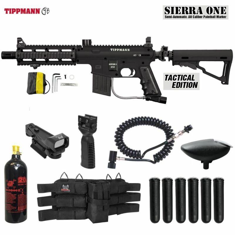 Maddog Tippmann Sierra One Tactical CO2 Red Dot Paintball Gun Package - Black