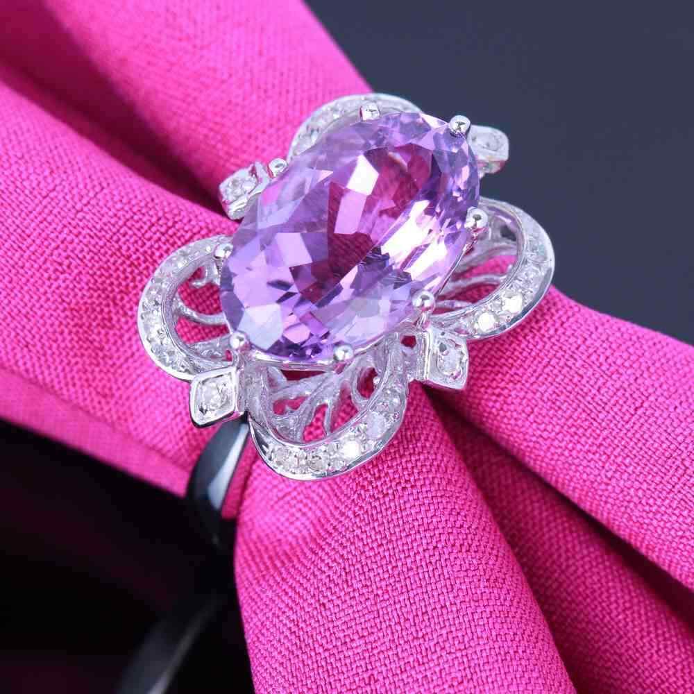 9x14mm Oval Cut Natural Amethyst Diamond Engagement Wedding Ring ...
