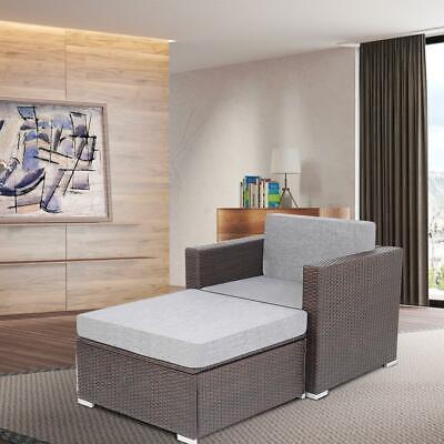 Garden Furniture - Outdoor Patio Garden Furniture Rattan Wicker Sofa Set - Armchair sofa + Ottoman