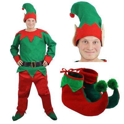 MENS ELF COSTUME ADULTS CHRISTMAS SANTAS LITTLE HELPER FANCY DRESS XMAS OUTFIT  - Mens Elf Outfit