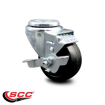 Hard Rubber Swivel Bolt Hole Caster W3.5 Wheel Brake