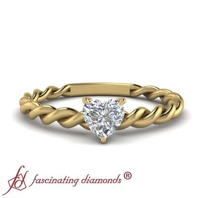 .55 Ct Heart Shaped Diamond Solitaire Twisted Rope Engagement Ring FLAWLESS GIA