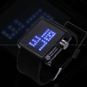 TVG Digital LED Mens Wrist Watch Mirror Square Black SIlicone Band Outdoor Sport