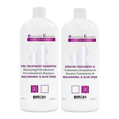 Essential Keratin - Kit Lissage - 2 x 1000 ml - Cheveux Abîmés - Sans Formol