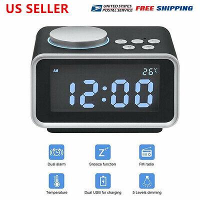 "Digital Alarm Clock Radio 3.2"" LCD Display Loud sound FM Radio with USB Charger"