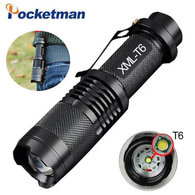 22000lm Cree XM-L T6 LED Flashlight Torch 5 modes Zoom Tactical 18650 Lamp