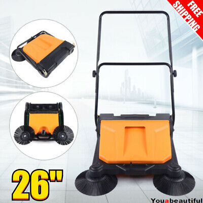 26 Industrial Hand Push Sweeper Pavement Sweeping Walk-behind Sweeper Cleaner