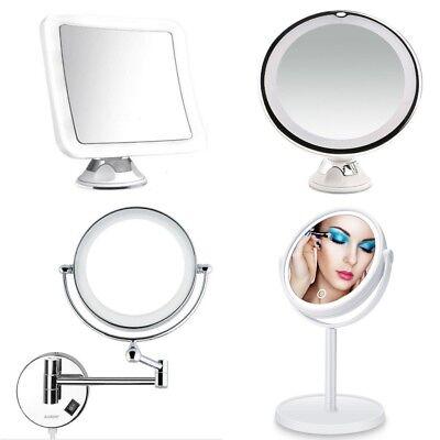 Design Rasier Kosmetik LED Schmink Spiegel 5,7 oder 10 Fach 360` Saugnapf Stand