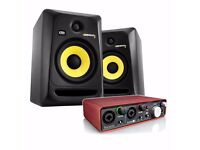 Pair of KRK Rokit 6 3g Monitors and Focusrite Scarlett 2i2 recording interface with cables