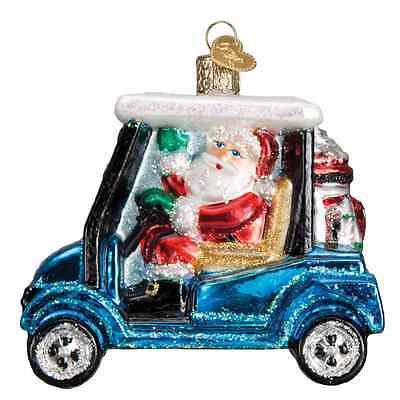 """Golf Cart Santa"" (40287) Old World Christmas Glass Ornament"