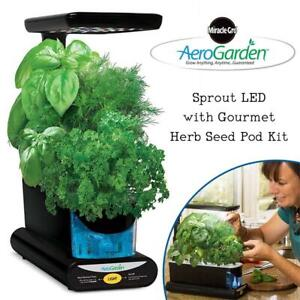 Used AeroGarden Sprout LED with Gourmet Herb Seed Pod Kit, Black Condtion: Used, Black