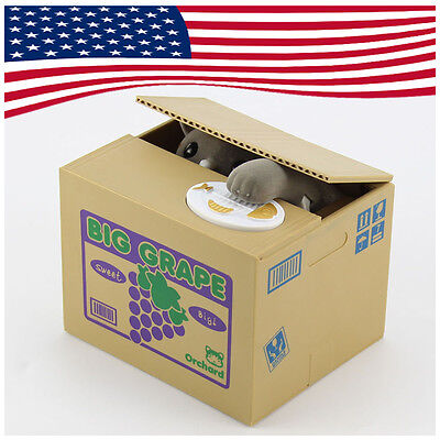 New Itazura Automatic Steal Stealing Grey Bank Money Cat Coin Storage Saving Box