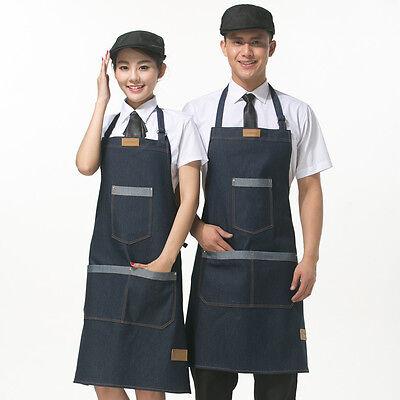Jeans Schürze Kochschürze Küchenschürze Arbeitskleidung Latzschürze Grillschürze