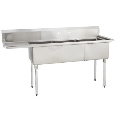 3 Three Compartment Commercial Stainless Steel Sink 68.5 X 21.8 G