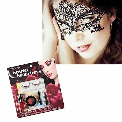 Halloween Sparkly Makeup (Halloween Costume Masquerade Lace Mask with Sparkly Makeup Kit Free)
