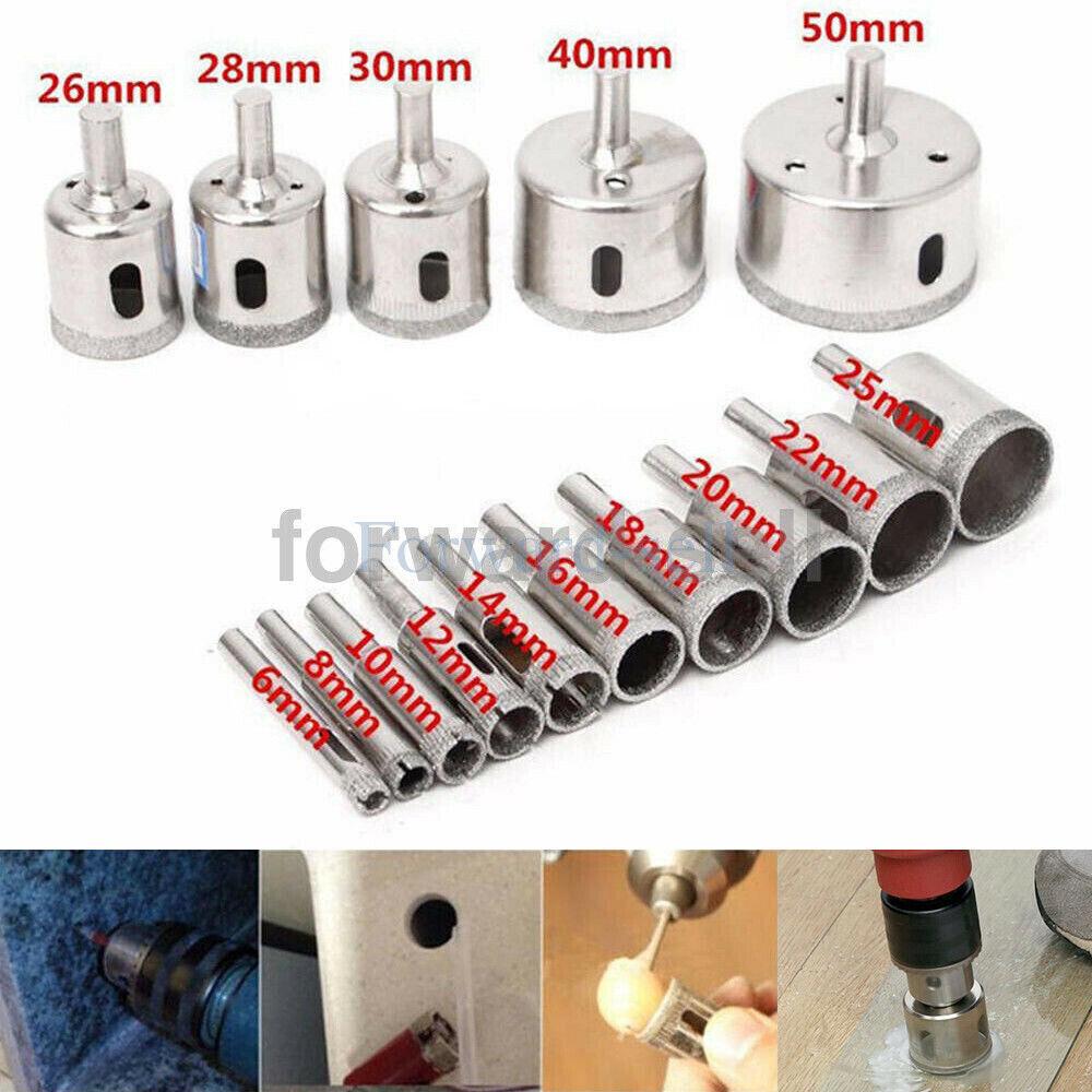 Diamond Hole Saw Drill Bit Set Glass Ceramic Tile Saw Cutting Tool 15pcs 6-50mm