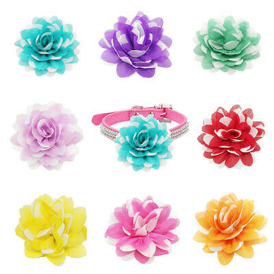 8 × Dog Charm Flower Handmade Chiffon Pet Collars Decorate Grooming Accessories