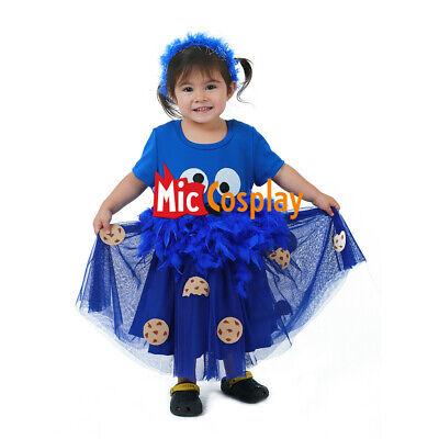 Blue Cookie Monster Fancy Dress Girl Child Kids Halloween Costume