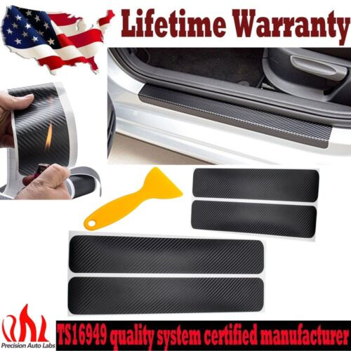 4pcs Car Accessories Door Sill Scuff Protect Carbon Fiber Cover Scratch Sticker