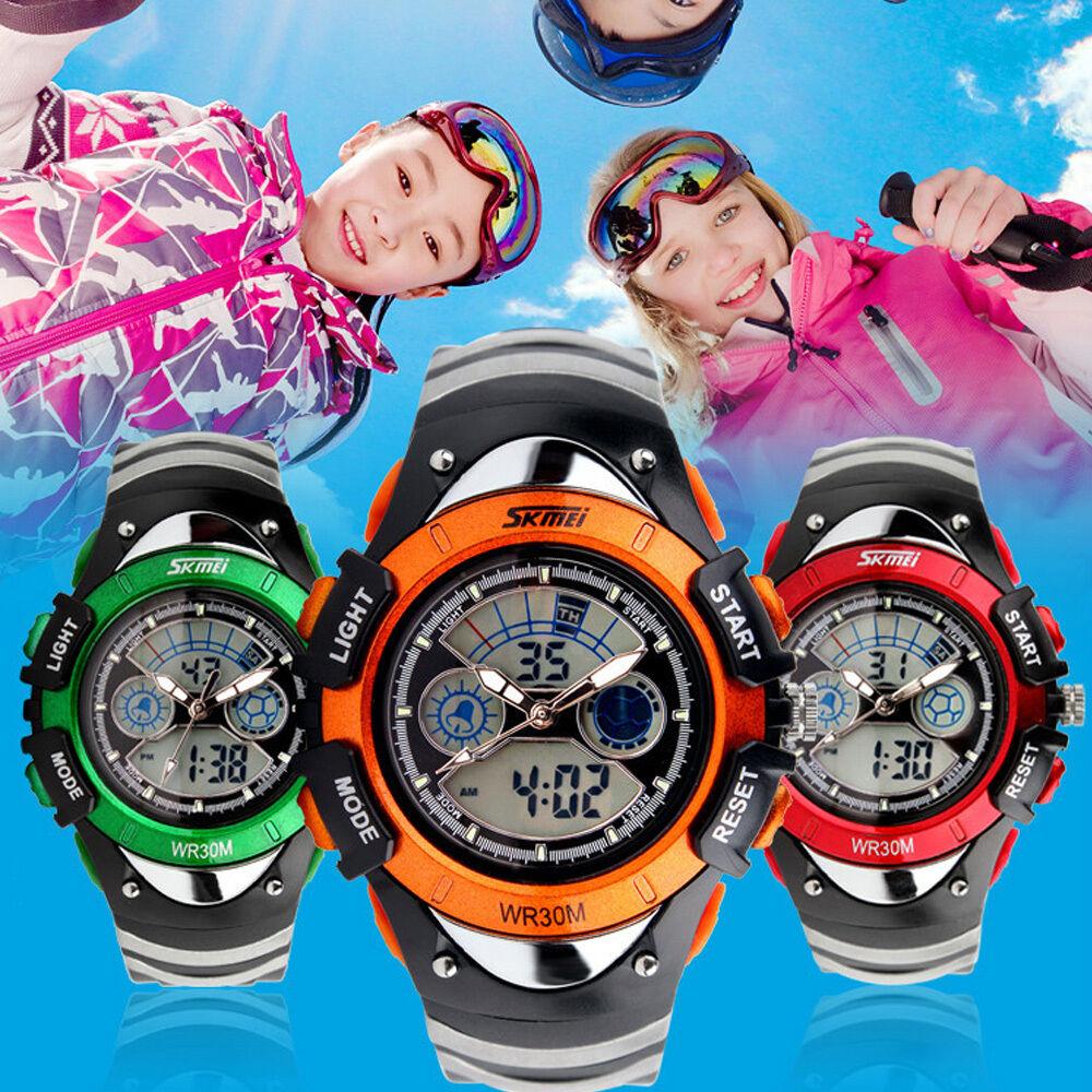 Herren Damen Kinder Jungen Armbanduhr LED Analog Digital Sportuhr Wasserdicht