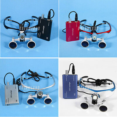 Dental Surgical Medical Binocular Loupes Glasses 3.5x420mm W Led Headlight Dtve