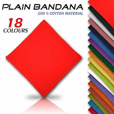 100% Cotton Plain Bandana Cow Boy Girl Biker Neck Scarf Head Bandanna Mix Colour