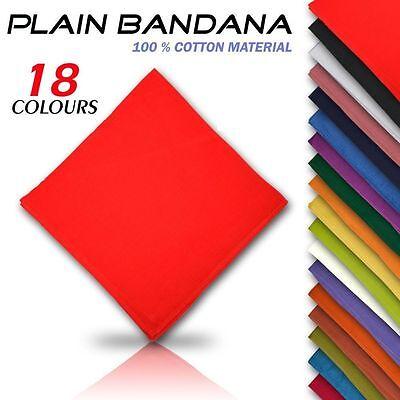 100% Cotton Plain Bandana Cow Boy Girl Biker Neck Scarf Head Bandanna Mix Colour