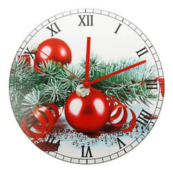 Merry Christmas Ornament Holiday Rustic Favors Wall Clock Non Ticking Watch
