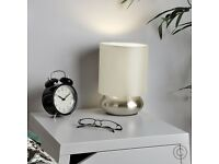 Pair Of - Modern Chrome Touch Table Lamps with Cream Shades - MUST GO