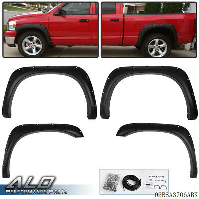4pcs Fender Flares For 02-08 Dodge Ram 1500/2500/3500 Bolt On Pocket Rivet Style