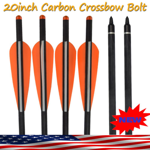 "20"" Crossbow Bolt Carbon Arrows Archery Targeting Hunting Ou"