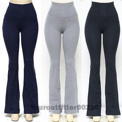 Women's YOGA Pants Athletic GYM Fold over Waistband Flare Le