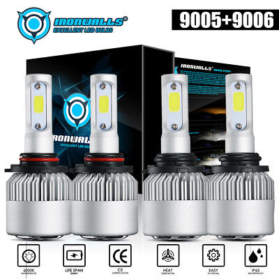 (IRONWALLS 9005+9006 LED 3000W 450000LM Combo Headlight High + Low Beam 6000K Kit)
