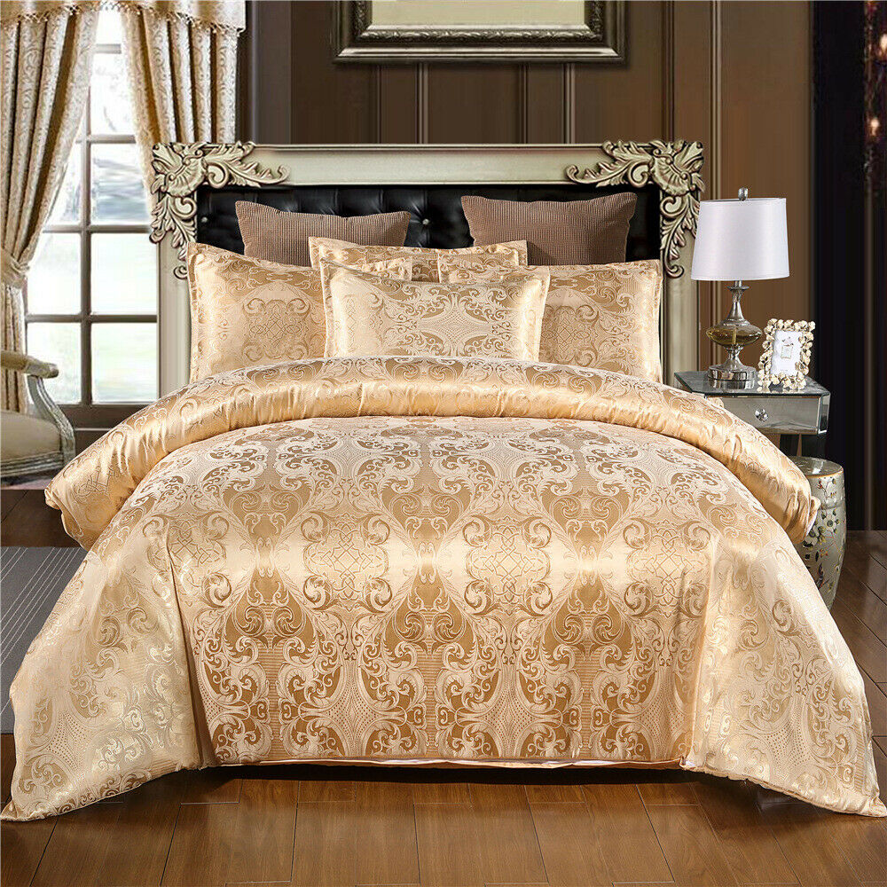 Luxury Satin Jacquard Bedding Set Duvet Quilt Cover