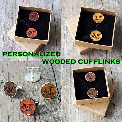 Personalized Wooden Cross Cufflinks Groomsmen Wedding Birthday Custom Gift v