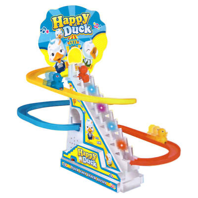 Happy Ducks Run Race Musical Light Yellow Ducks Electric Climb Stairs Track Toy