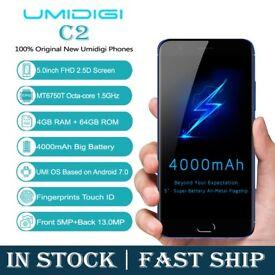 NEW UNLOCKED UMIDIGI C2 5.0 FHD SHARP 4GB RAM 64GB ROM 4000mAh 7.0 ANDROID 4K VIDEO 4G LTE