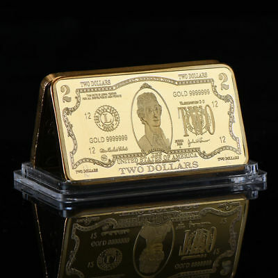 WR US $2 Two Dollar Banknote 1 Oz Gold Clad Bar Metal Souvenir Gifts for Men