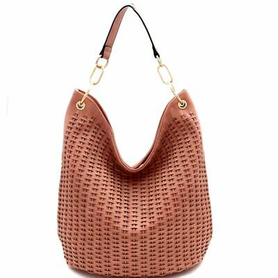 Woven Accent Chain Decorated Single Strap Hobo Purse