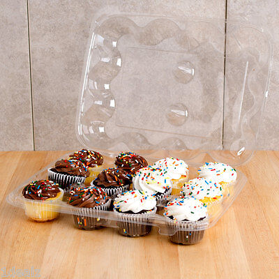 12 Compartment 100 Case Hinged High Dome Clear Plastic Cupcake Container +Rebate