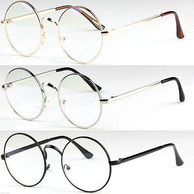 Retro Fensterglas Brille Nickelbrille rund Klarglas klare Elegante Gläser Unisex