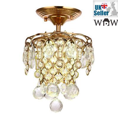 3 LED Colores Recibidor Luz Dorado Genuino K9 Lámpara de Araña Cristal...