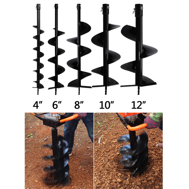 """4 6 """" 8""""10"""" 12"""" Earth Auger Drill Bit Replacement for Gas Power Post Hole Digger"""