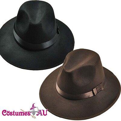 Ganster Hats (Oktoberfest Hat Cowboy 1920s Ganster Black Brown Costume)