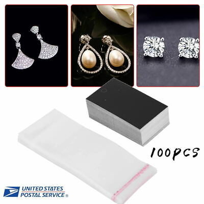 100 Earring Ring Card Display Stand Holder Jewelry Show Rack Wself Adhesive Bag