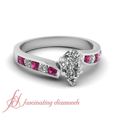 .82 TCW. Pear Shaped Diamond Twine Edged Engagement Ring & Pink Sapphire SI1 GIA