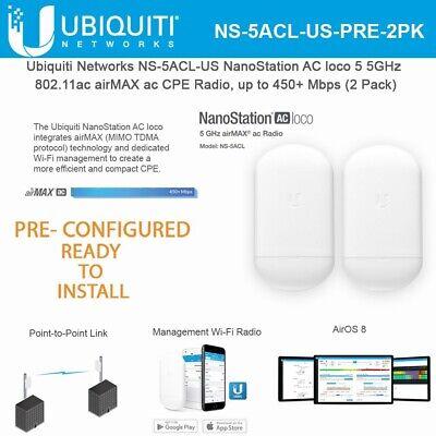 Ubiquiti NanoStation Loco5AC Preconfigured Point to Point Wireless Bridge Kit comprar usado  Enviando para Brazil
