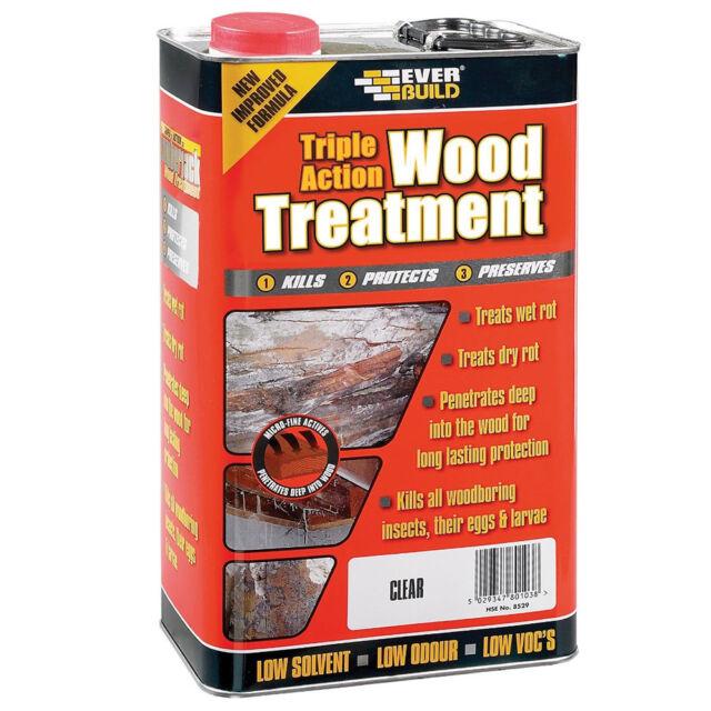 Everbuild Triple Action Wood Treatment Preserver Kills Wet/Dry Rot Fungi 25L
