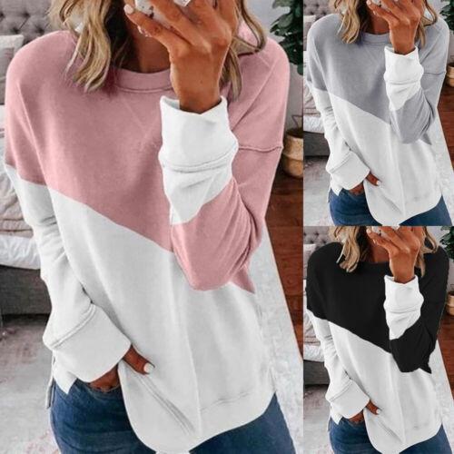Damen Pullover Langarmshirt Sweatshirt Herbst Basic Bluse Longtop Oberteile